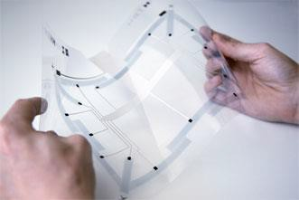FlexSense thin-film, transparent sensing surface based on printed piezoelectric sensors
