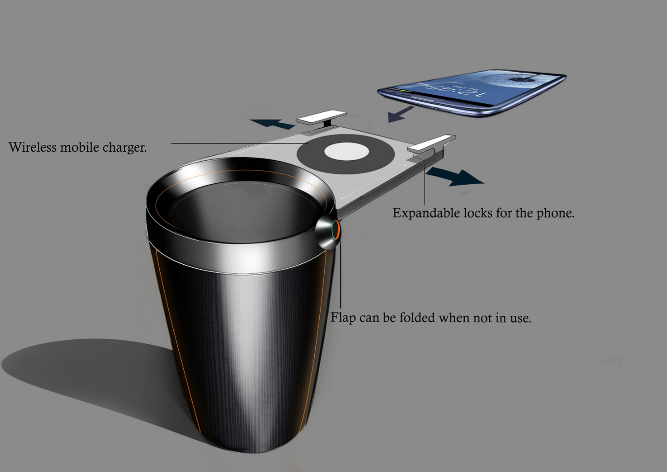 Integrated Warm Cup Holder With Wireless Smart Phone Charging