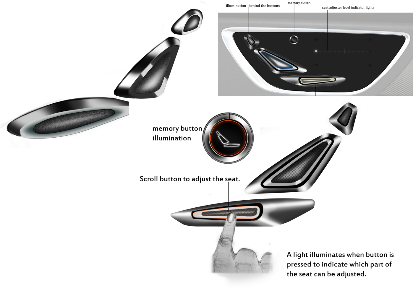 Automotive Luxury Seat Switch Design Concept
