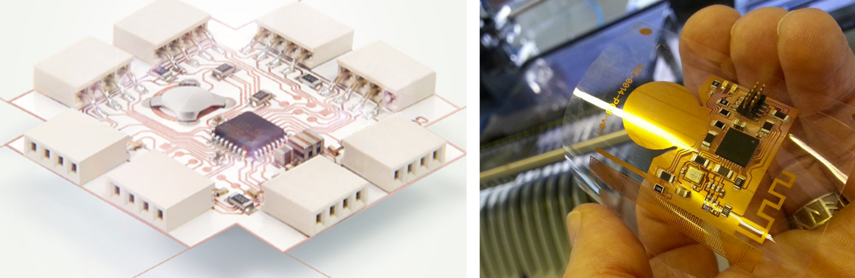 Design Hmi Flexible Hybrid Electronics Telephone Circuit Hands Over Tech This Was Achieved By Replacing The Traditional Board With A Thin Plastic Sheet Eliminating Microcontroller Packaging